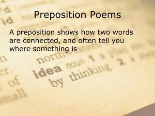 Preposition Poems
