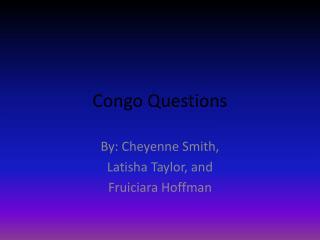 Congo Questions