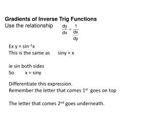 G radients of Inverse Trig Functions Use the relationship