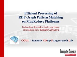 Efficient Processing of  RDF Graph Pattern Matching  on  MapReduce  Platforms