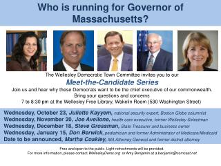 Who is running for Governor of Massachusetts?