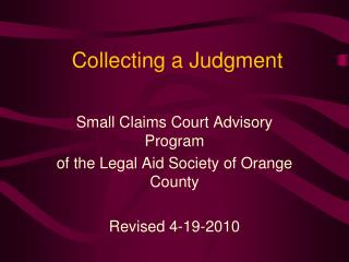 Collecting a Judgment