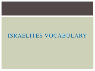 Israelites Vocabulary