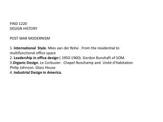 FIND 1220 DESIGN HISTORY POST WAR MODERNISM