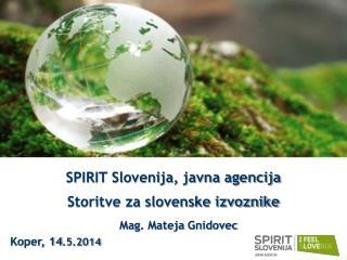 SPIRIT Slovenija, javna agencija Storitve za slovenske izvoznike