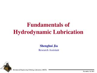 Fundamentals of  Hydrodynamic Lubrication
