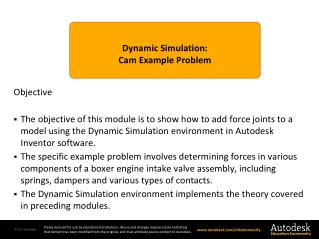 Dynamic  Simulation : Cam  Example Problem