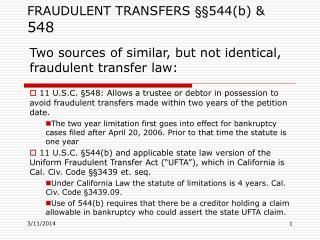 FRAUDULENT TRANSFERS   544b  548