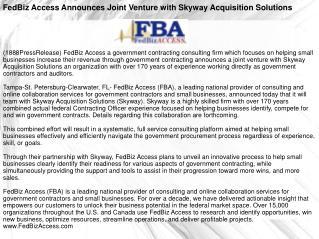 FedBiz Access Announces Joint Venture with Skyway Acquisitio