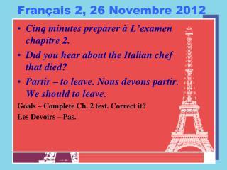 Français  2, 26  Novembre  2012