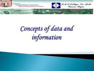 Concepts of data and information