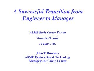 A Successful Transition from Engineer to Manager