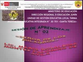 MINISTERIO DE EDUCACIÓN DIRECCIÓN REGIONAL D EDUCACIÓN JUNÍN