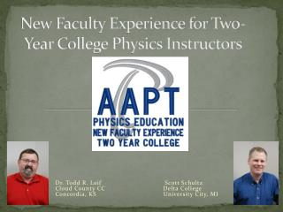 New Faculty Experience for Two-Year College Physics Instructors