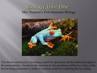 Biology Unit One