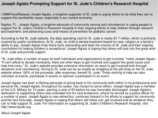 Joseph Agiato Prompting Support for St. Jude's Children's Re