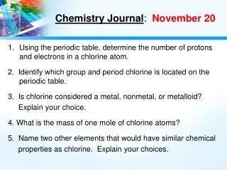 Chemistry Journal :   November 20