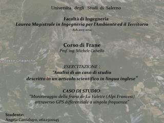 Università   degli   Studi  di  Salerno Facoltà di Ingegneria
