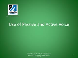 Use of Passive and Active Voice