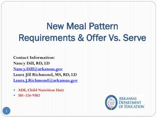 New Meal Pattern Requirements & Offer Vs. Serve