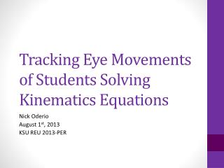 Tracking Eye Movements of Students Solving Kinematics Equations