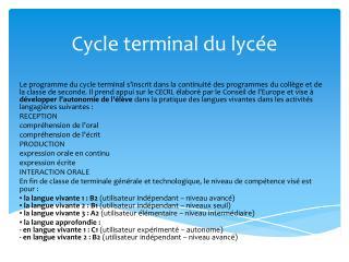 Cycle terminal du  lycée