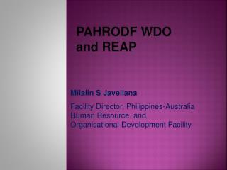 PAHRODF  WDO and REAP