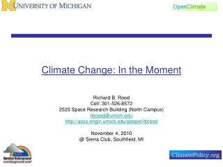 Climate Change: In the Moment