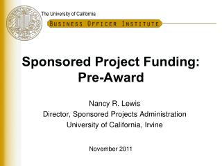 Sponsored Project Funding:  Pre-Award