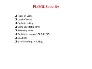 PL/SQL Security