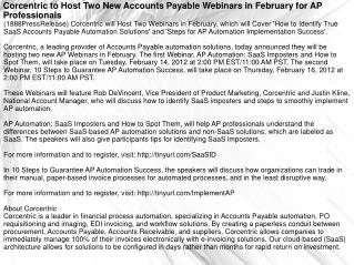 Corcentric to Host Two New Accounts Payable Webinars in Febr
