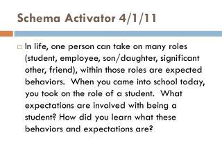 Schema Activator 4/1/11