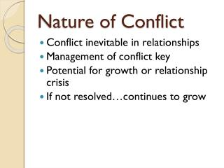 Nature of Conflict