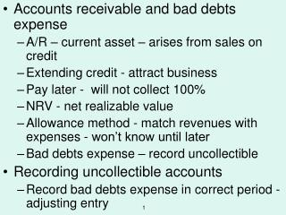 Accounts receivable and bad debts expense A