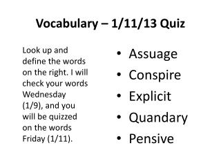 Vocabulary – 1/11/13 Quiz