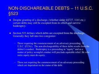 NON-DISCHAREABLE DEBTS   11 U.S.C.  523