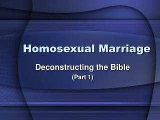 Homosexual Marriage