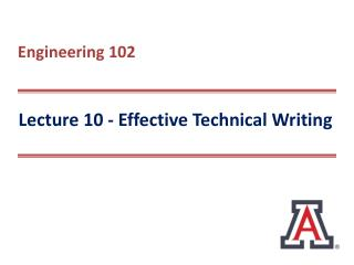 Lecture 10 - Effective Technical Writing