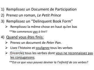 Remplissez  un Document de Participation Prenez  un roman,  Le Petit Prince