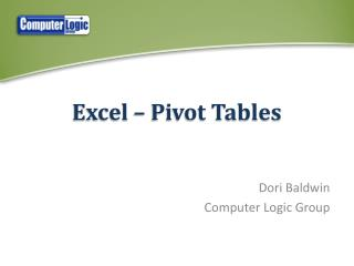 Excel – Pivot Tables