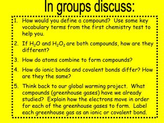 In groups discuss: