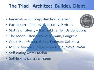 The Triad –Architect, Builder, Client