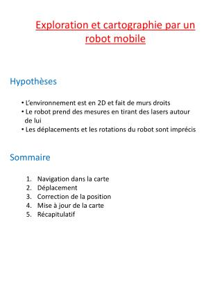 Exploration et cartographie par un robot mobile