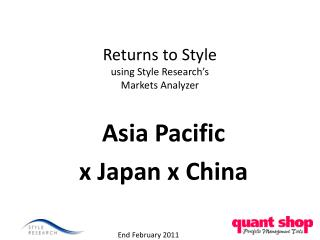 Returns to Style using Style Research's  Markets Analyzer