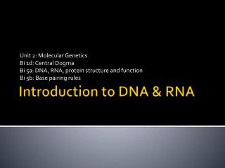 Introduction to DNA & RNA