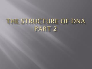 The Structure of DNA Part 2