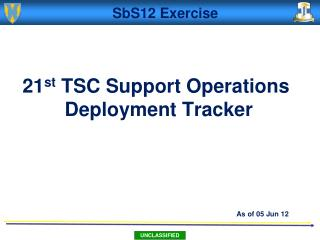 21 st  TSC Support Operations  Deployment Tracker