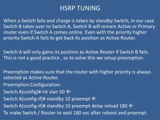 HSRP TUNING