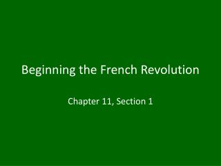 Beginning the French Revolution