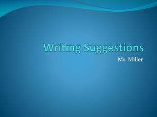 Writing Suggestions